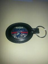 """1 NY GIANTS NFL FOOTBALL LEATHER DELUXE KEYCHAIN FOB   2"""" X 21/2"""""""