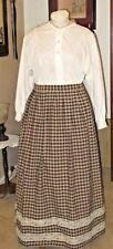 Civil War Dress~Victorian Style-Homespun Black & Tan 100% Cotton Camp/Work Skirt