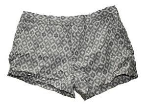 Cynthia Rowley Women's Linen Shorts Gray White Print Sz 10 Anthropologie