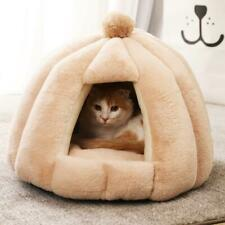 Soft Kitten Cat Cave Bed Mongolian Yurt Shape Semi Closed Pet Nest House Warm US