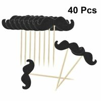 40pcs Mustache Cake Topper Home Party Shop Cupcake Toothpicks Black Baking Decor