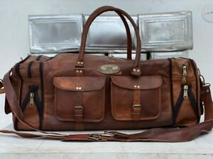 Large Leather Vintage Duffel Overnight Travel Bag Extra Space For Shoes Luggage