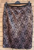 AUTOGRAPH PINK BLACK FLORAL LACE TAPESTRY BODYCON STRAIGHT PARTY SKIRT 14 L