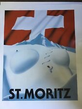 Original Lithographic St Moritz Ski Poster by Razzia