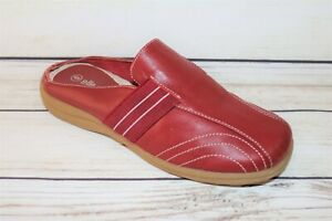 elle effe Brand Red Leather Slip On Comfort Mules Shoes Size 6 LIKE NEW