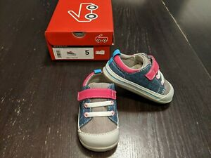 NIB See Kai Run Stevie II Denim Blue Grey Magenta Sneakers Infant 5