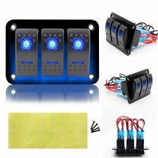 3 Gang Rocker Switch Panel Circuit Breaker LED Voltmeter RV Car Marine Boat 12V