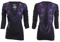ARCHAIC by AFFLICTION Womens LS T-Shirt SILENT SPIRIT Wings Biker Sinful $58