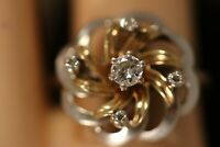 HEAVY WIDE 14K WHITE YELLOW GOLD DIAMOND FLOWER ROSE ART DECO BALLERINA RING
