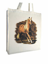 Striking Horse Equestrian b Cotton Shopping Bag Gusset Long Handles Perfect Gift