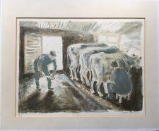 JOHAN LUNDGREN 1920 - 1989 - IM KUHSTALL - LITHOGRAFIE - SCHWEDEN - 31 X 41 CM