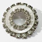 broche rare bijou vintage rétro couleur argent rosace cristal diamant *3417