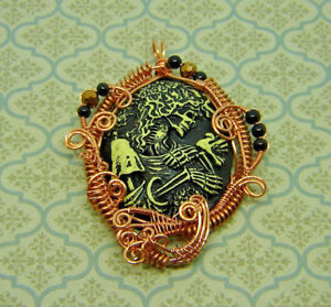 CAMEO 40x30 Victorian Gothic Lady Skeleton Skull Copper Wire Wrapped Pendant #5