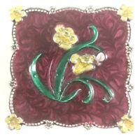 Box Pewter Jewelry Enamel Flower Design Trinket Decor Plant Enameled Vintage Box
