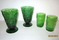 VINTAGE GREEN JUICE GLASSES set of 2 & FOOTED TUMBLERS Set of 2, total of 4