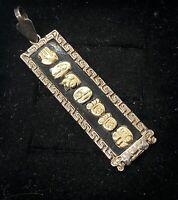 Vtg 14k Gold Sterling Silver Pendant Signed Lapis Egyptian Revival Cartouche