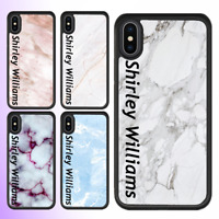 For iPhone 11 pro max 12 XS Case Marble Personalised Text Initial Custom Name V