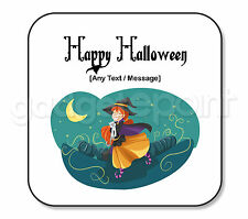 Personalised Happy Halloween Gift Cat Witch Square Coaster Spooky Scary Gift #3