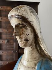 Antique Old Coptic Painted Wooden Statue of Mary - 27 In H, 27 Base Circ.