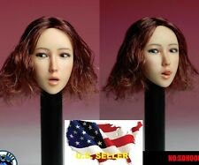 1/6 female head open mouth w/ tongue red short hair C for hot toys phicen ❶USA❶