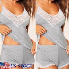 Sexy Lingerie Womens Cotton Pajama Set Lady Sleepwear Camisole Shorts Set US