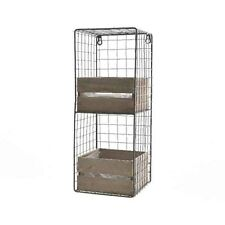Industrial Wire Shelving Locker Room Wall Unit 2 Cubbies Wooden Storage Drawers