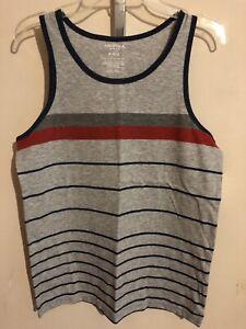 ARIZONA Boy's Tank Tee / T Muscle Shirt Gray - Navy - Red Stripe FREE Shpg NWTA