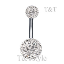 T&T 10mm Clear Swarovski Crystal Ball Belly Bar Ring BL138A