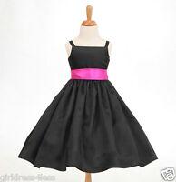 BLACK FREE SHIPPING SPAGHETTI STRAPS FLOWER GIRL DRESS 12M 2/2T 4/4T 5/6 8 10 12