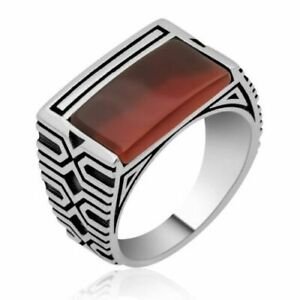 Natural burgundy Agate Men's Rings, High Quality 925 Sterling Silver Ring S 12