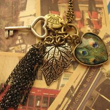 Unique Peacock Feather Leaf Key+Love+Heart Pendant Tassel Long Chain Necklace