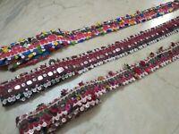 Vintage Lot of 3 *Special * Lambadi Banjara Kuchi Mirror Embroidery Trim Border
