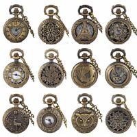 Vintage Retro Antique Pocket Watch Bronze Womens Necklace Chain Quartz Steampunk