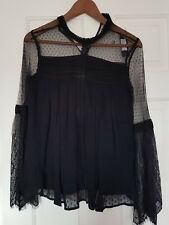 ☆☆WOMENS RIVER ISLAND BLACK MESH LACE BLOUSE SIZE 8 . LONG SLEEVED ☆☆