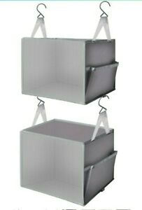 2 pc Hanging Closet Organizer and Storage Hanging Closet RV Shelves Hanging Grey