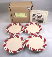4 Longaberger Peppermint Twist Coasters Pottery Red Green Cream Ceramic New