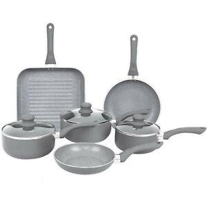 Induction Pot Set 9 Piece Non Stick Grey Marble Effect Frying Saucepan Grill Pan