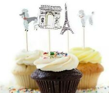 24 x PARIS FRANCE CUPCAKE CAKE TOPPERS / PARTY/ BIRTHDAY/ EIFFEL TOWER FRENCH