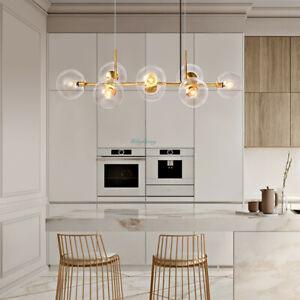 Modern 8-Lights Linear Bubble Chandelier Glass Ball Brass Ceiling Pendant Light