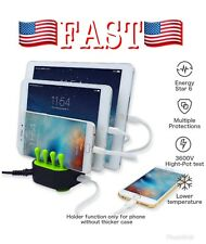FIRENEW 4-Port USB Fast Charger Station Charging Dock Stand Organizer Phone/iPad