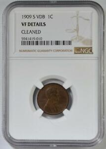 1909-S VDB Lincoln Wheat Cent NGC VF Details Cleaned No Reserve Auction 99C Open