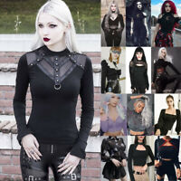 Women's Goth Dark T shirt Tops Gothic Style Punk Street Sexy Tank Tops Sweaters