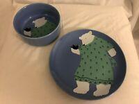 Paris Bottman Design Blue Bowl And Plate Bear Bird Vintage 1988