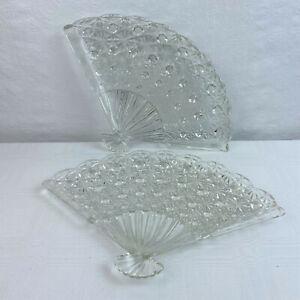 Vintage 2 Fenton Glass Clear Crystal  Daisy & Button Pattern Fan Shaped Tray