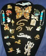 Lot of 24 Fashion Costume Jewelry Pins Gold & Silver Tone, Rhinestones, Enamel