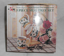 Golden Magnolia 5 Pc. Mug Tree Set NIB 2001 K. K. Merchandise Inc. Ceramic Wear