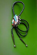 Vintage Inlay Gemstones? American Chief Headdress Silver? Turquoise Bolo Tie