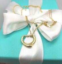 Tiffany & Co 18Ct 18K 750 Gold Elsa Peretti 16mm Open Heart Pendant Necklace