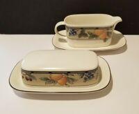 Mikasa Intaglio GARDEN HARVEST  Butter Dish and Gravy Boat CAC01 CAC29