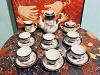 Dragon Ware Moriage 15 Piece Tea Set Color Black & White Japan